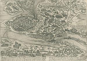 Siege of Hulst (1596) - Image: Beleg van Hulst (1596) door Albertus van Oostenrijk Siege of Hulst (1596) by Albert of Austria (Frans Hogenberg)