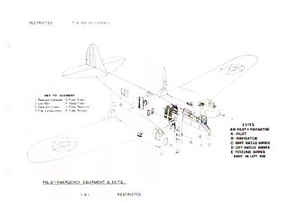 Bell YFM-1 Airacuda - Page from Bell YFM-1 and YFM-1B handbook (T.O.-01-110HA-1) showing emergency equipment and exits.