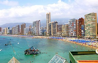 Benidorm, one of Europe's largest coastal tourist destinations Benidorm - Playa de Poniente 26.jpg