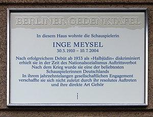 Inge Meysel - Berlin Gedenktafel at house, Heylstraße 29, in Berlin-Schöneberg