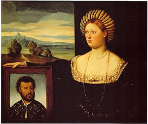 Bernardino Licinio - Bernardino Licinio. A wife with her husband's portrait. c. 1500. Bergamo, Italy