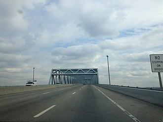 Betsy Ross Bridge - Eastbound across the Betsy Ross Bridge, from Philadelphia to Pennsauken, New Jersey across the Delaware River