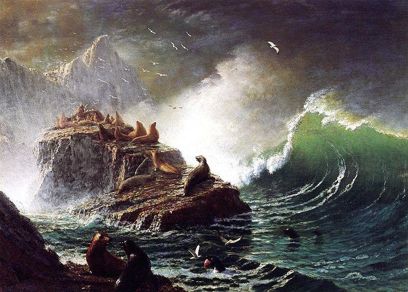 File:Bierstadt Albert Seals on the Rocks Farallon Islands ...
