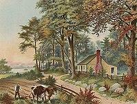Image du lieu de naissance de Grant, une structure simple à un étage, avec une clôture et des arbres devant, à côté de la rivière Ohio avec un bateau à vapeur passant