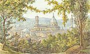Blick auf Florenz - Aquarell von Felix Mendelssohn 1830
