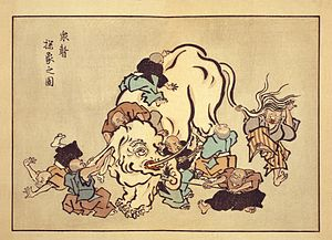 "Hanabusa Itchō - ""Blind monks examining an elephant"", an ukiyo-e print by Hanabusa Itchō"