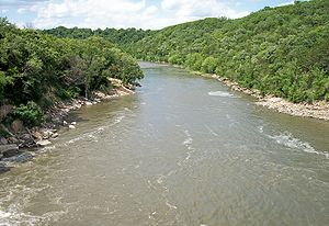 Blue Earth River - The Blue Earth River as viewed from Rapidan Dam in Blue Earth County in 2007