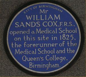 William Sands Cox - Blue plaque on House of Fraser in Temple Row