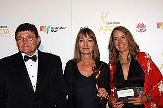 Bob Connolly - Bob Connolly, Helen Panckhurst and Sophie Raymond at 1st AACTA Awards, 2012