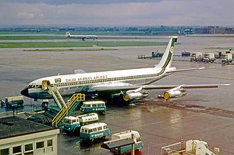 Saudia - Saudi Arabian Airlines Boeing 707 at London Heathrow Airport in 1969