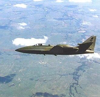 Boeing Skyfox - Camouflaged Skyfox prototype in flight