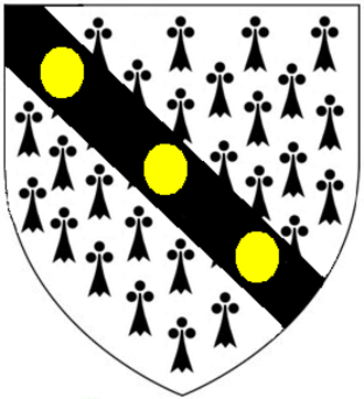 James Boevey - Armorials of James Boevey (1622–1695) as shown on his mural monument in the Lumley Chapel, nr. St Dunstan's Church, Cheam, Surrey: Ermine, on a bend sable three bezants