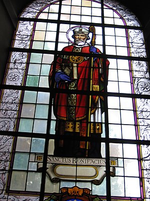 Boniface of Brussels - Stained-glass window in the Saint-Peter's Church in Brussels.
