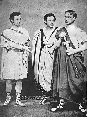"Sic semper tyrannis - John Wilkes Booth (left) acting in Julius Caesar in 1864; the following year, he shouted ""Sic semper tyrannis!"" after assassinating Abraham Lincoln."