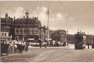 History of Bournemouth - The Square in Bournemouth with a tram c1910.