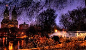 The Ramble and Lake - Bow Bridge lit on a winter night