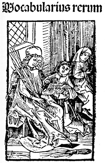 A teacher of a Latin school and two students, 1487 Brack Vocabularius rerum.jpg