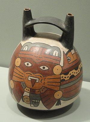 Double spout and bridge vessel - A bridge-spouted bottle from the Nasca culture, 100-300 AD