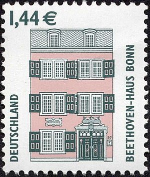 Beethoven House - Definitive 144 Cent stamp from Germany (2003) (Sight series), showing the Beethoven Haus