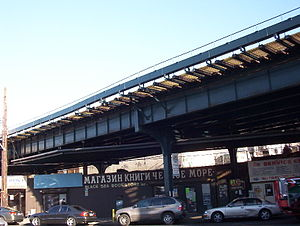 BMT Brighton Line - The Brighton Line passing over Coney Island Avenue in Brighton Beach