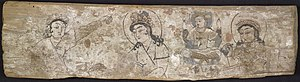 Clothing in India - Painting on wooden panel discovered by Aurel Stein in Dandan Oilik, depicting the legend of the princess who hid silk worm eggs in her headdress to smuggle them out of China to the Kingdom of Khotan.