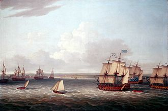 Siege of Havana - The British fleet closing in on Havana in 1762.  Painting by Dominic Serres