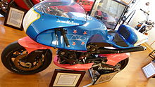 A blue motorcycle