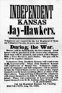 Jayhawker Became synonymous with the people of Kansas during the Bleeding Kansas period of the 1850s