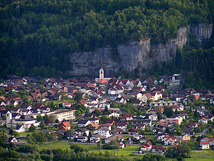 Bürs - village center seen from the north