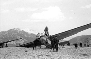 Military glider - A German DFS 230 after it landed troops during the Gran Sasso raid, September 12, 1943