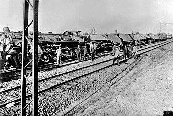 Järnvägsattack under striderna i mars
