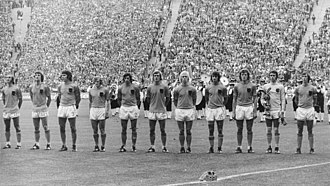 Netherlands national football team - The Dutch team before their 1–2 loss against West Germany in the final of the 1974 World Cup