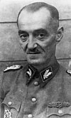 A man wearing a military uniform. He has short, thinning hair, mustache and a determined facial expression.