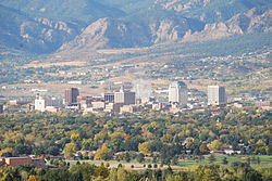 Colorado Springs with the Front Range in the background.