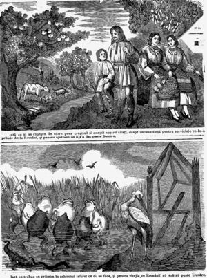 """Doina (Eminescu) - """"What they take, and what they give"""", cartoon of July 1878 expressing a Romanian take on the Berlin Treaty. At the top, the Budjak, shown as a prosperous region with inhabitants wearing Romanian dress; Northern Dobruja, received in exchange by Romania, appears as a desolate and beastly marshland"""