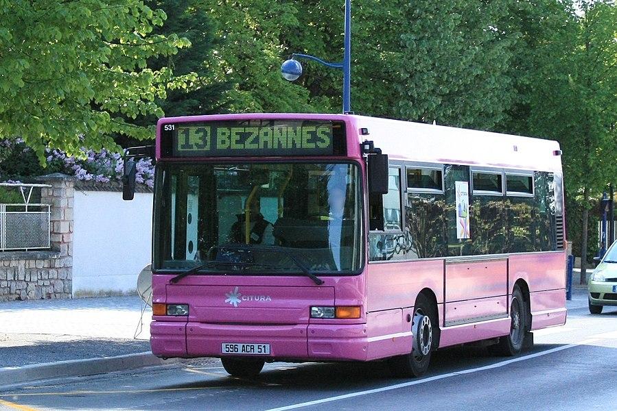 GX 117 du réseau CITURA. Ligne 13 > BEZANNES GARE CHAMPAGNE TGV à MAIRIE DE TINQUEUX