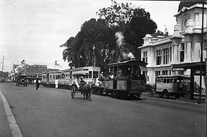 Jalan Gajah Mada and Jalan Hayam Wuruk - Jakarta Tram in Molenvliet West (now Jalan Gajah Mada). The building in the background is the old facade of the Postspaarbank, currently Bank Tabungan Negara office.