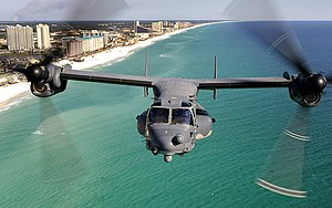 Hurlburt Field -  A CV-22 Osprey aircraft from the 8th Special Operations Squadron flies over the Emerald Coast outside Hurlburt Field, Fla., on January 31, 2009. While over the water, the crew practiced using a hoist, which is used to rescue stranded personnel.