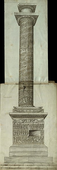 Seitenansicht der Arcadius-Säule mit geschnitzten Reliefs von Szenen und Figuren auf dem Sockel, auf dem Sockel und auf dem Säulenschacht, der von einer Hauptstadt und dem leeren Sockel einer Statue bedeckt ist