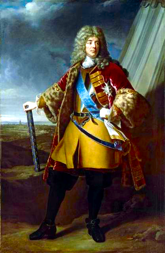 Francois de Neufville, Duke of Villeroi, Marshal of France, (1644-1730) by Alexandre-Francois Caminade. The Battle of Ramillies was Villeroi's last command. Caminade - Francois de Neufville de Villeroy (1644-1730) - MV 1043.png