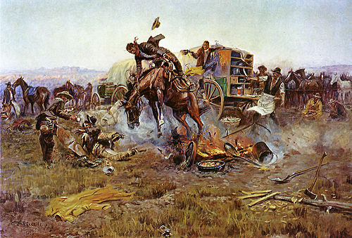 A western bronc or bronco. Camp Cook's Troubles by C. M. Russell.