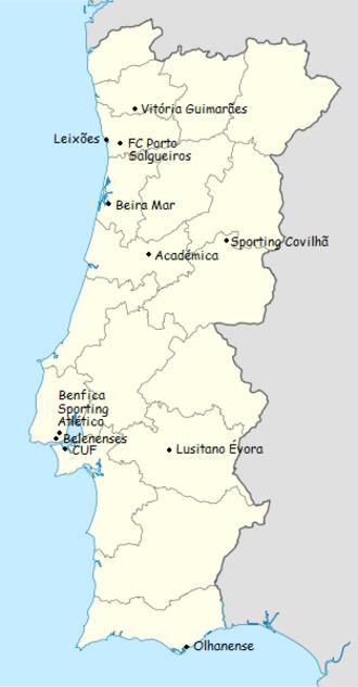 1961–62 Primeira Divisão - Location of teams in 1961–62 Primeira Liga