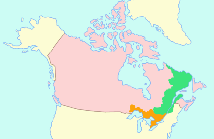 A map highlighting the Canadas, with Upper Canada in orange, and Lower Canada in green. In 1841, the two colonies were united to form the Province of Canada. Canada upper lower map.PNG