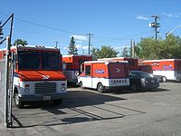 Canada Post trucks in Edmonton