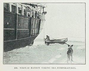 Nicolai Hanson - Nicolai Hanson taking sea surface temperature measurements, near the SS Southern Cross, around 1899, near Antarctica