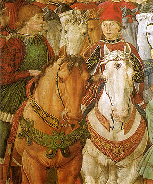 Sigismondo Pandolfo Malatesta - Fresco with Galeazzo Maria Sforza (right), by Benozzo Gozzoli.