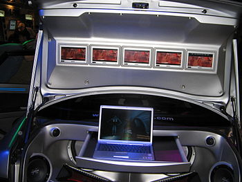 Car trunk with lots of screens (Stockholm Cars...