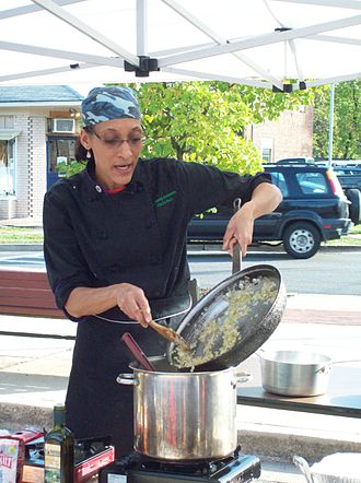 Riverdale Park, Maryland - Carla Hall preparing gourmet natural food at the Riverdale Park Farmers Market, October 2009