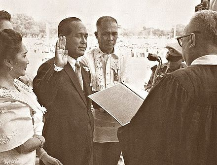Carlos P. Garcia is sworn in as the 8th President of the Philippines after winning the election of 1957 Carlos P Garcia second inauguration, 1957.jpg