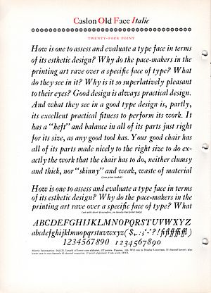 "William Addison Dwiggins - Dwiggins' ""How is one to assess"" text used in a Linotype specimen of Caslon."